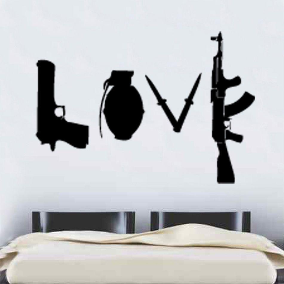 W227 Banksy Amour Armes Mur Autocollant Art Graffitti Rue Vinyle sticker Home decor