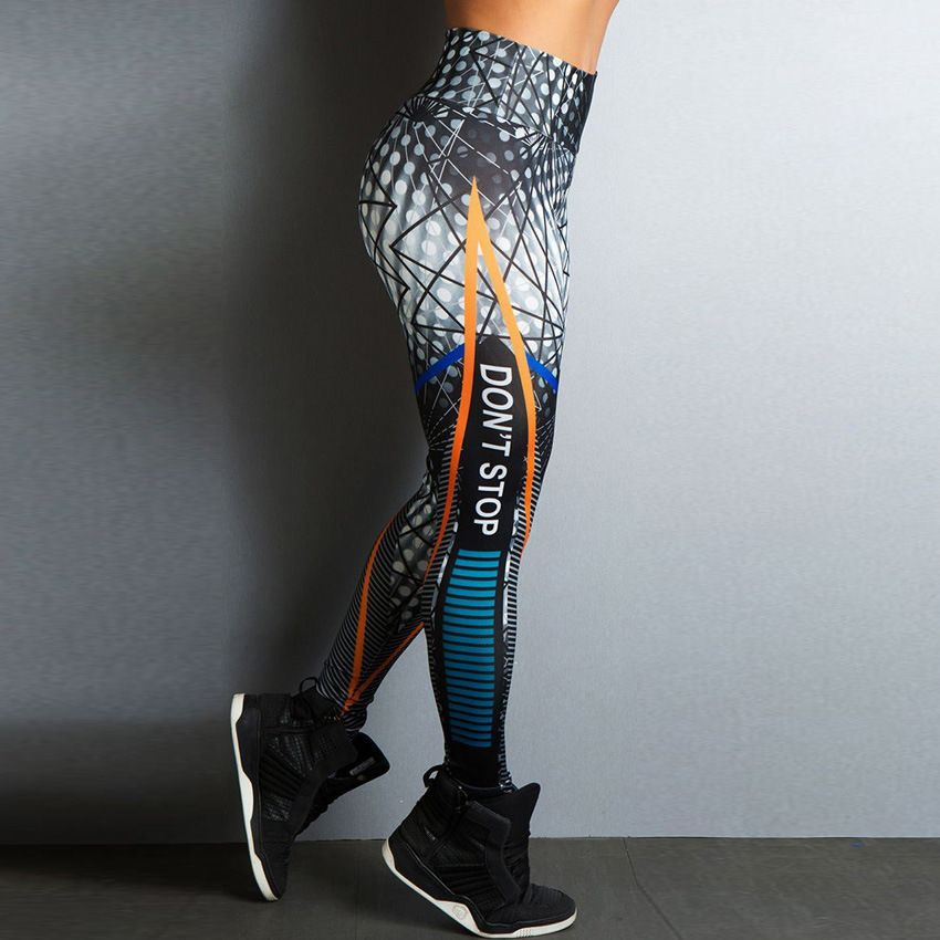 2018 New Sports Printing Style Leggings Put Hip Fold Elastic High Waist Legging Breathable Slim Pants