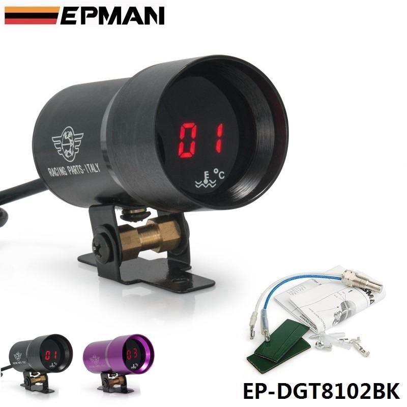 EPMAN -37mm-Compact Micro Digital Smoked Lens Water Temp Temperature Gauge Black,Purple For BMW E39 5-Series Facelift EP-DGT8102