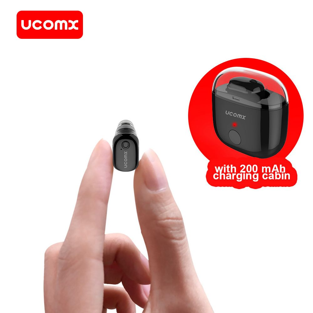 UCOMX Bluetooth Earphone Wireless Earbud In Ear Monitor Earpiece with Microphone Mono Invisible Earphones for Samsung iPhone Mi