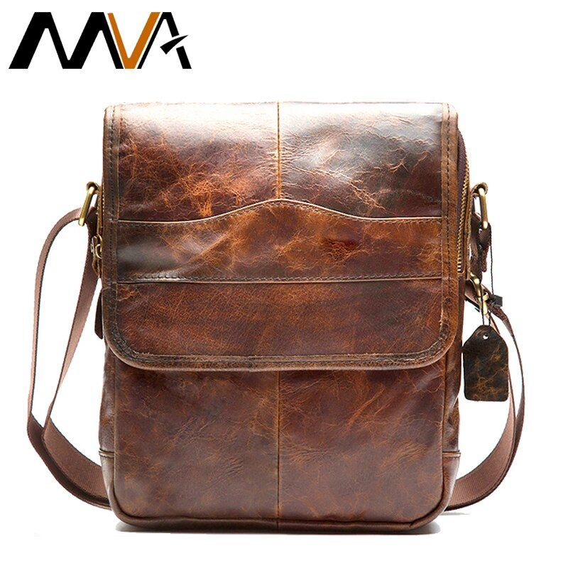 MVA Messenger bag men's shoulder bag Genuine Leather strap <font><b>Small</b></font> Casual Flap male man men's Crossbody Bags for Men Leather 1121