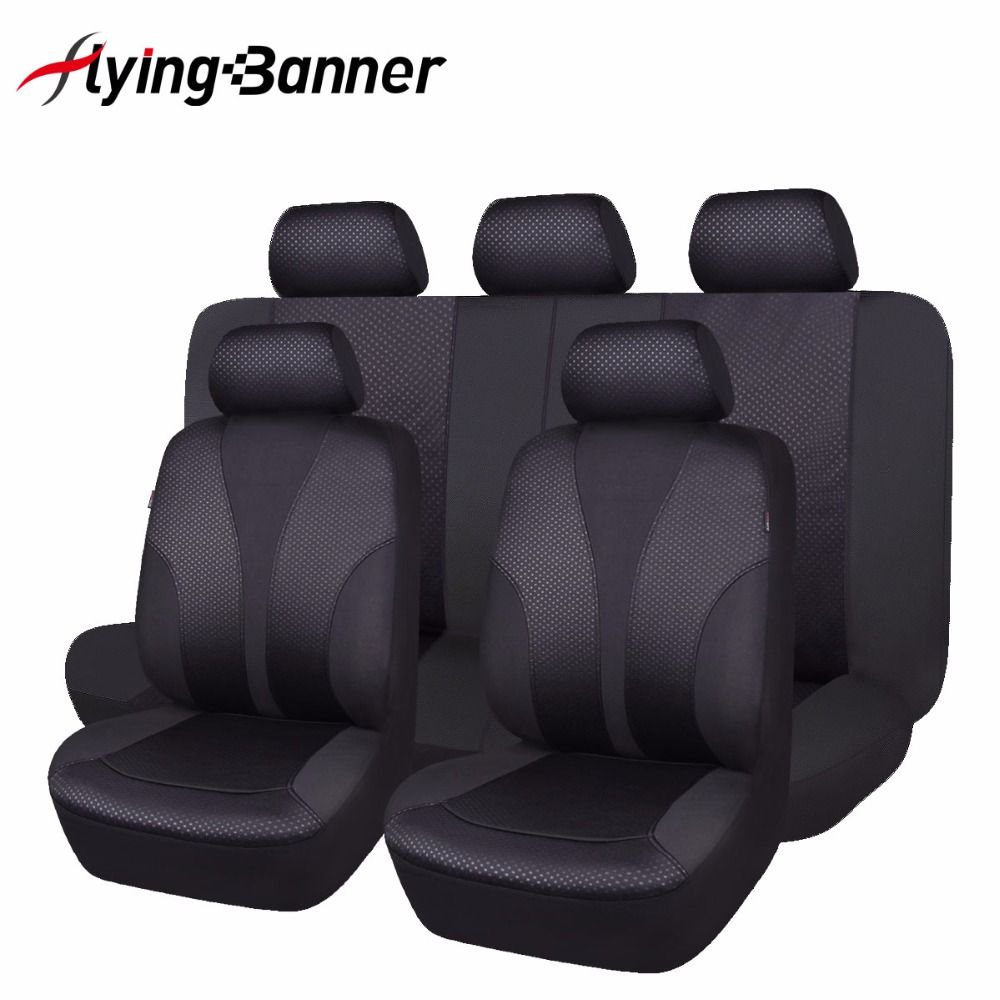 2017 New 11 PCS Black Car Seat Cover Universal Front Seat Bench <font><b>Automobiles</b></font> Seat Covers Car Interior Accessories High Quality