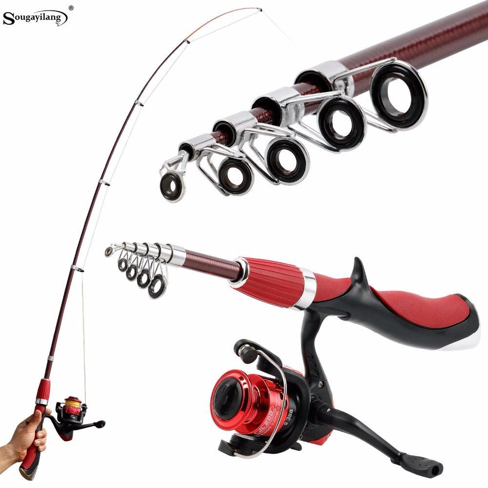 Sougayilang En Fiber De Carbone Portable Canne À Pêche Avec Moulinet De Pêche Combo Spinning De Pêche Sur Glace Tiges Kit De Pêche De Pesca