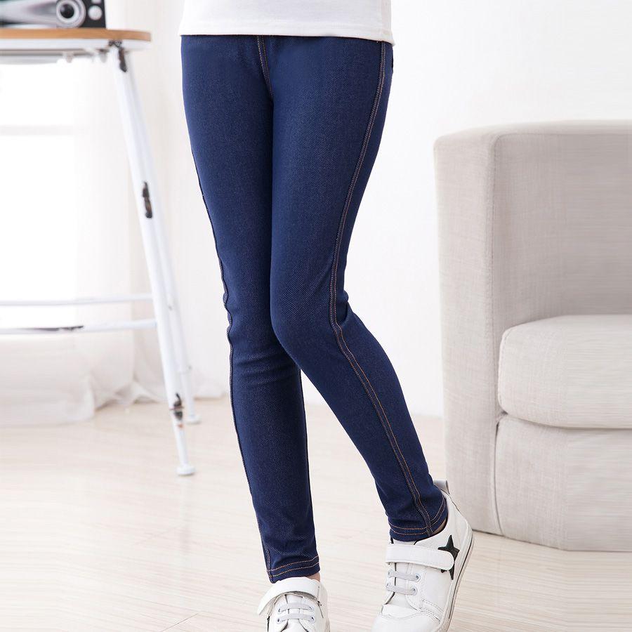 SheeCute Nouveau Printemps D'été De Mode Filles Crayon tricot Imitation denim tissu Jeans Enfants De Sucrerie Colore Mi Taille des pantalons Pleine Longueur