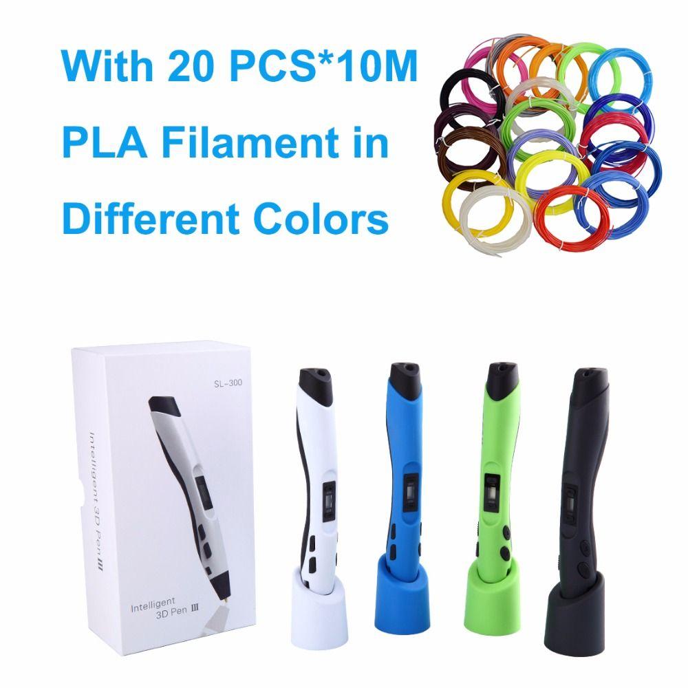 SUNLU SL-300 Enfants cadeau doodle jouet stylo 3D stylo avec supplémentaire 20 sacs de 10 M PLA filament total 200 M pour 3d impression peinture