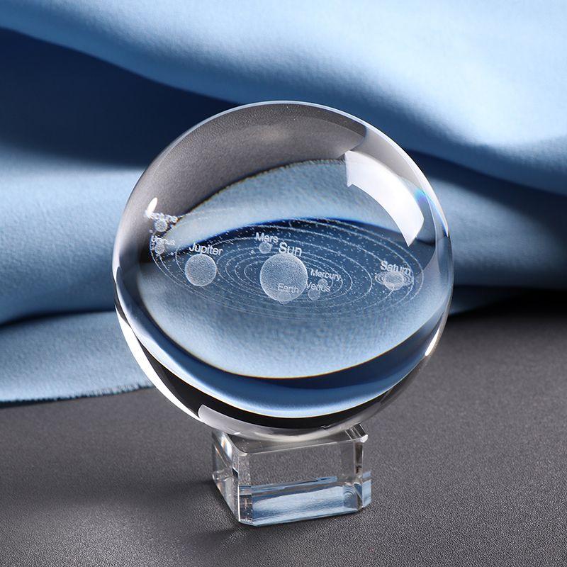 6CM Laser gravé système solaire balle 3D planètes miniatures modèle sphère verre Globe ornement décor à la maison cadeau pour Astrophile