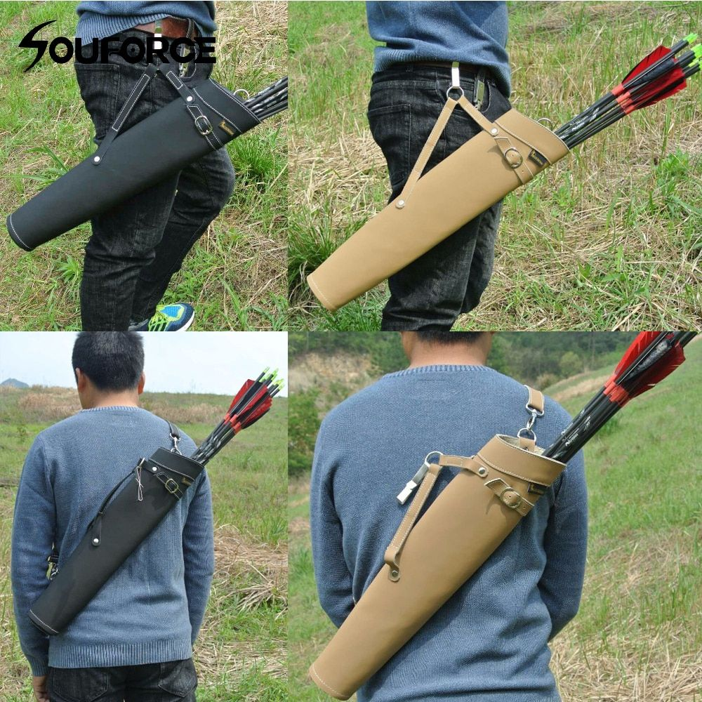 52*13cm Arrow Quiver in Black/Yellow Color Shoulder-back Design Made of Pure Leather for Archery Hunting Shooting