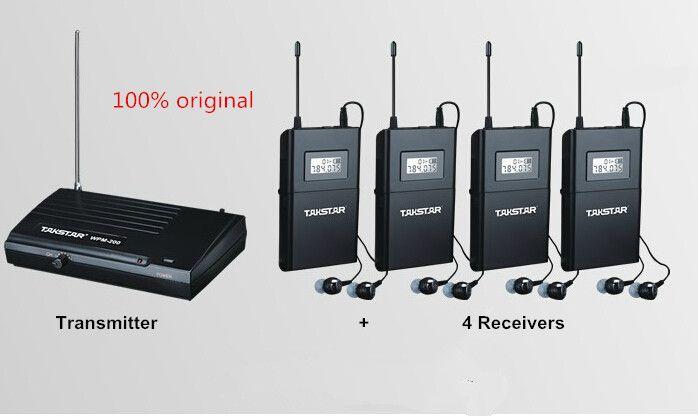 2017 UHF Wireless In Ohr Bühnen Monitor System TAKSTAR In ohr Bühnen Drahtloses Monitor-System 4 Empfänger + 1 Sender WPM-200