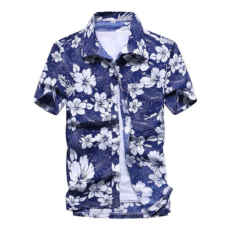 Beach Hawaiian Shirts Men Clothes 2019 Summer Fashion Coconut Tree Printed Short Sleeve Button Down Hawaiian Aloha Shirts Mens