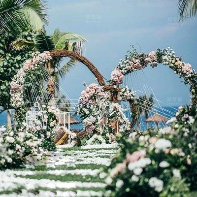 Hochzeit prop metall ring regal künstliche blume wand kreis stehen tür hochzeit hintergrund decor metall arch 4 größen blume stehen