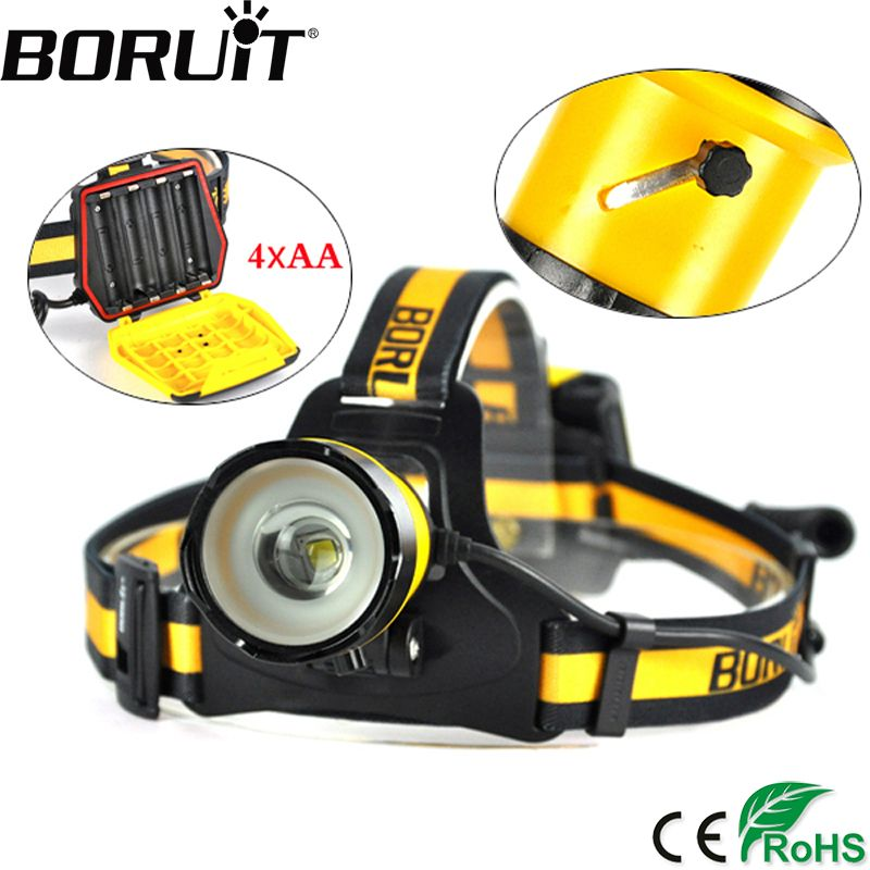 BORUiT B16 XM-L2 LED 1200LM Headlight Zoom 3-Mode Headlamp Waterproof Head Torch Hunting Lamp Fishing Camping Frontal Lantern