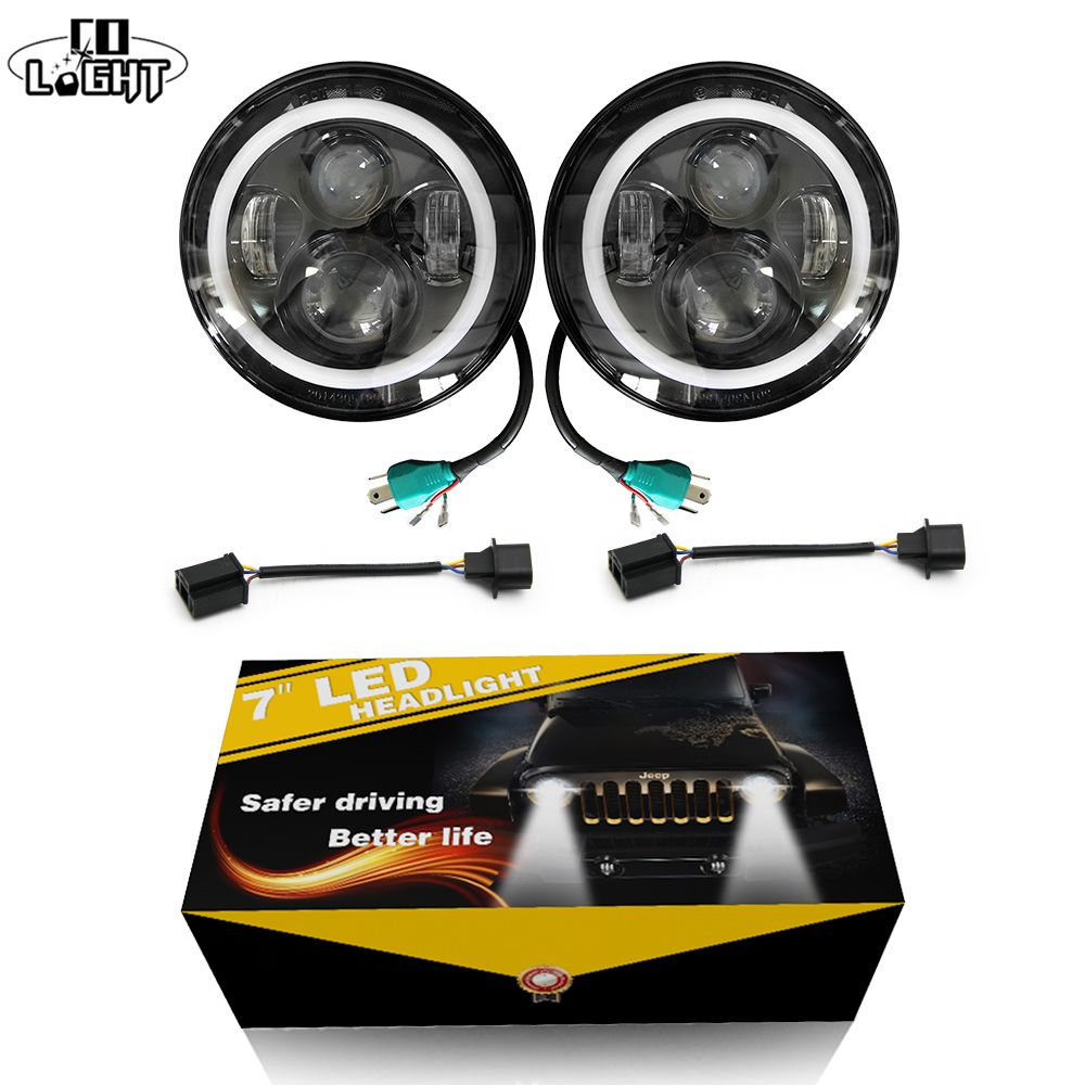 CO LIGHT 2pcs 7 Inch <font><b>Led</b></font> Driving Light 50W 30W H4 H13 <font><b>LED</b></font> Car Headlight Kit Auto for Jeep <font><b>Led</b></font> Head Lamp Bulbs Dipped & High Beam
