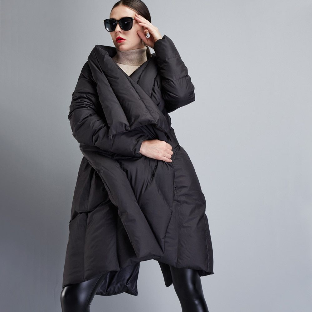[EAM] 2018 New Autumn Winter V-collar Long Sleeve Black Loose Big Size Irregular Solid Color Coat Women Jacket Fashion JD72001S