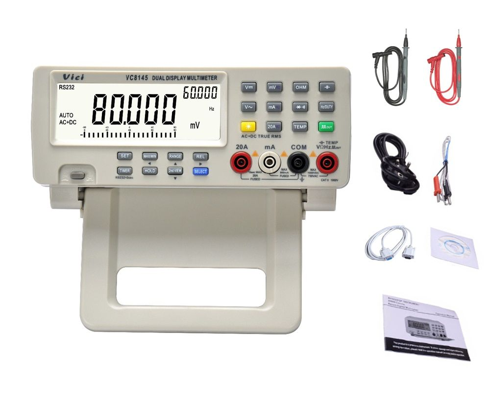 VC8145 4 7/8 Bench top Multimeter 1000V 20A 80000 Counts Digital Multimeter tester Auto Range Multimetro Digital Voltmeter Ohm