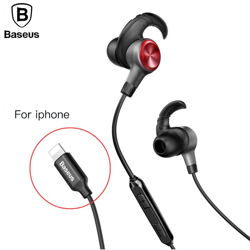 Baseus Earphone For Lightning in-ear Earphones for iPhone 7 8 6s <font><b>6plus</b></font> 8pin Hifi Earbuds Headset fone de ouvido With Mic for ios