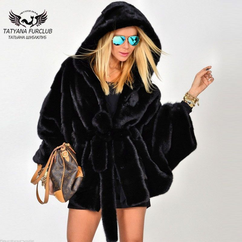 Tatyana 2018 New Bat Type Black Real Mink Fur Coats With Big Hood Female Ladies High Fashion Mink Fur Jackets Popular Fur Coat