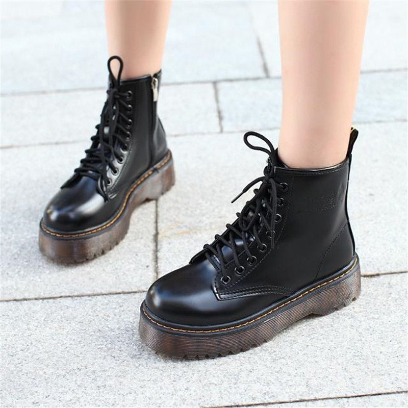 COOTELILI Botas Women Motorcycle Ankle Boots Wedges Female Lace Up Platforms Autumn Winter Leather Oxford Shoes Woman high heels