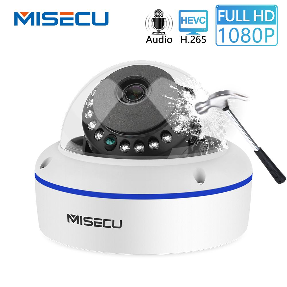 MISECU HD 1080P 2MP Surveillance IP POE Camera Audio Internal Microphone Vandalproof IR Night Dome Security Camera ONVIF P2P