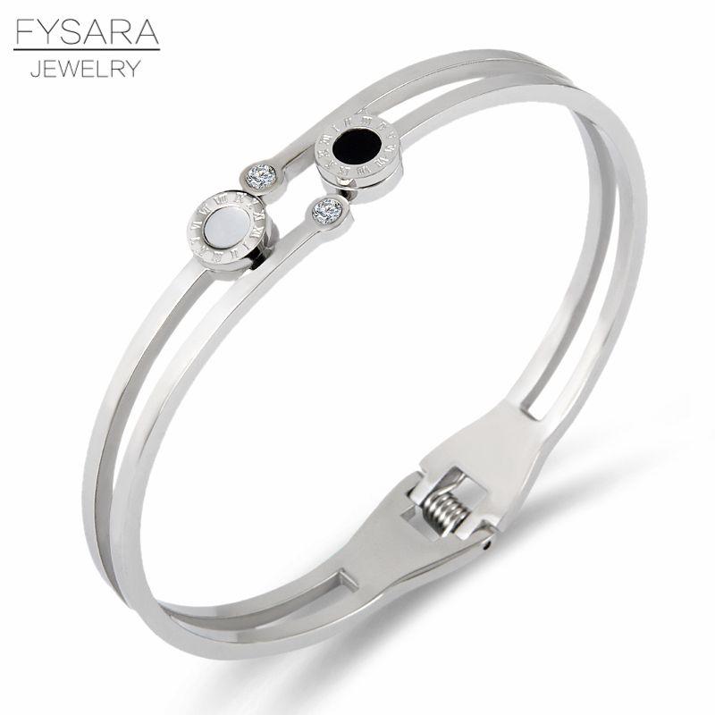 FYSARA coque blanche & noir Double cercle chiffres romains bracelets de luxe marque célèbre manchette bracelets pour femme cadeau saint valentin