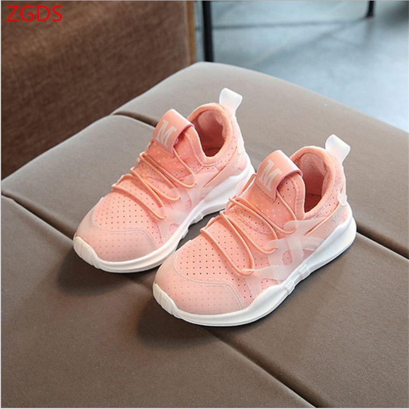 2018 Новинка осени модные чистая дышащий Розовый отдыха спортивные кроссовки для девочек белые туфли для мальчиков Брендовая детская обувь