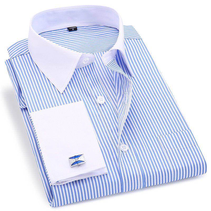 Haute qualité rayé hommes boutons de manchette français tenue décontractée chemises à manches longues col blanc Design Style mariage chemise de smoking 6XL