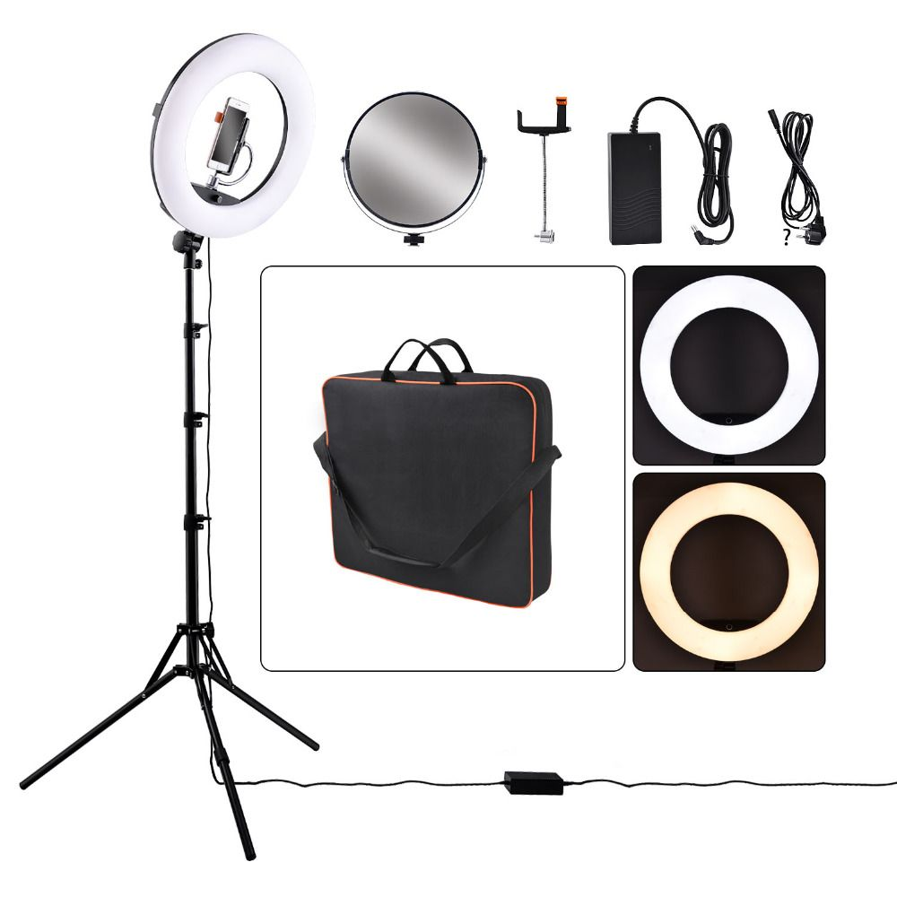 Yidoblo FD-480II Dimmable Bi-color 1896W Camera Photo Video Photography LED Ring Light Lamp&LCD Screen/bag <font><b>Tripod</b></font> Stand/Mirror