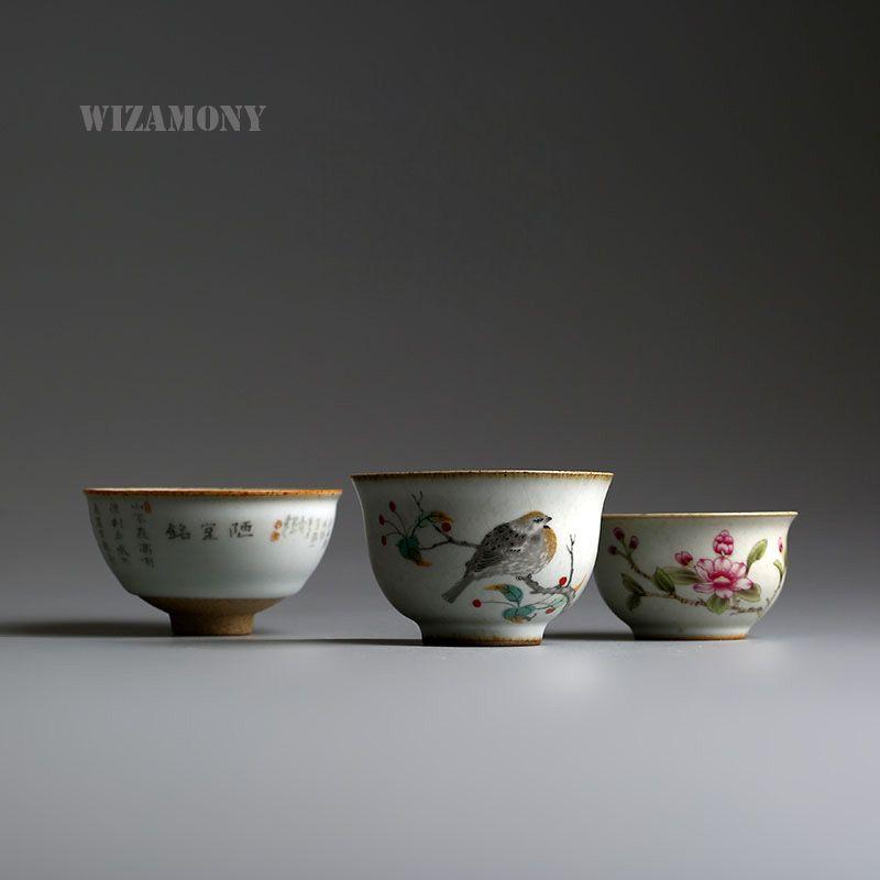 1 pièces WIZAMONY Drinkware dédouanement chinois Ru four porcelaine Gaiwan ChinaTeacups porcelaine bol chine théière Celadon Teacup