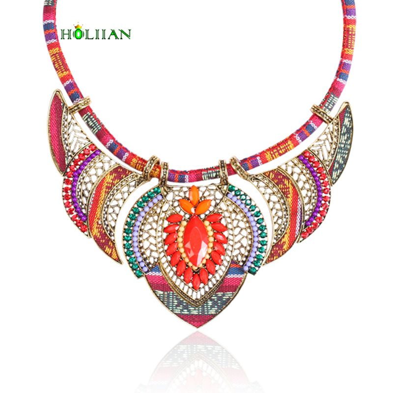 Female vintage choker pendants≠cklaces big boho necklaces ethnic bohemian jewelry statement tribal orange bijoux femme mujer
