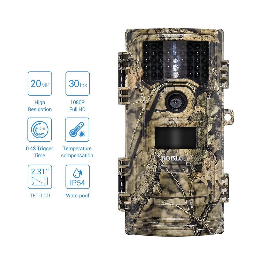 BOBLOV CT006 Hunting Video Camera 20MP 1080p 30fps Trail camera Farm Home Security 0.4s Trigger Time Wildlife Hidden Photo Trap