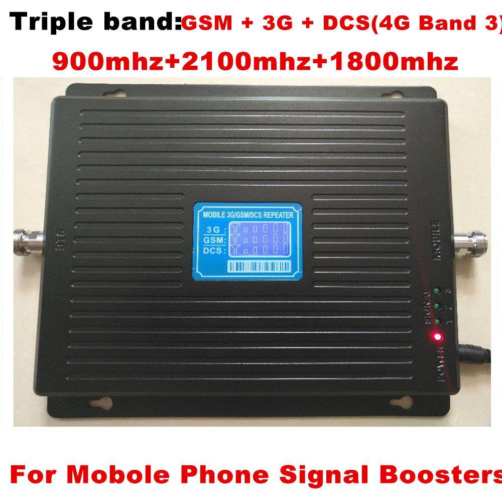 Neueste TriBand repeater 2g 3g 4g LTE 900 mhz 1800 mhz 2100 mhz GSM DCS 3g WCDMA Für handy signal booster Celular verstärker