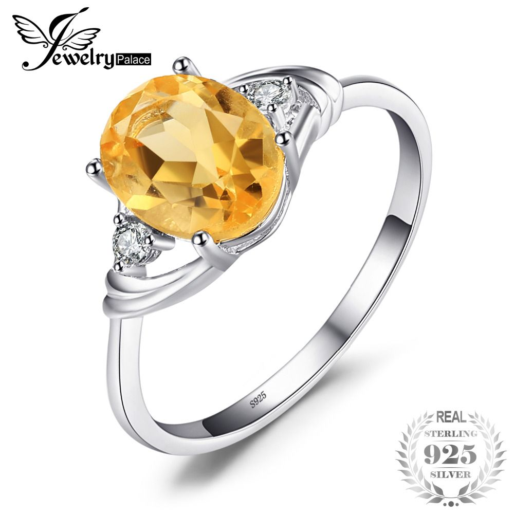 JewelryPalace 3 Stone 1.8ct Oval Genuine Citrine White Rock Crystal Aniversary Promise Ring 925 Sterling Silver Fine Jewelry