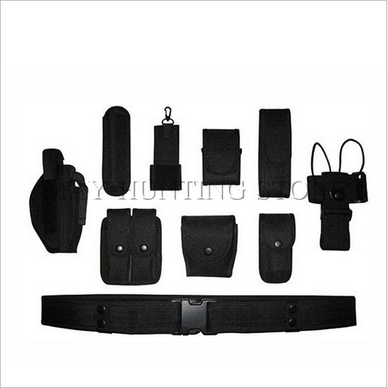Tactical Belt Military Multifunctional Duty Belt Army Polices Guard Utility Kit Set Handcuffs Pouch Flashlight Case Gun Holster