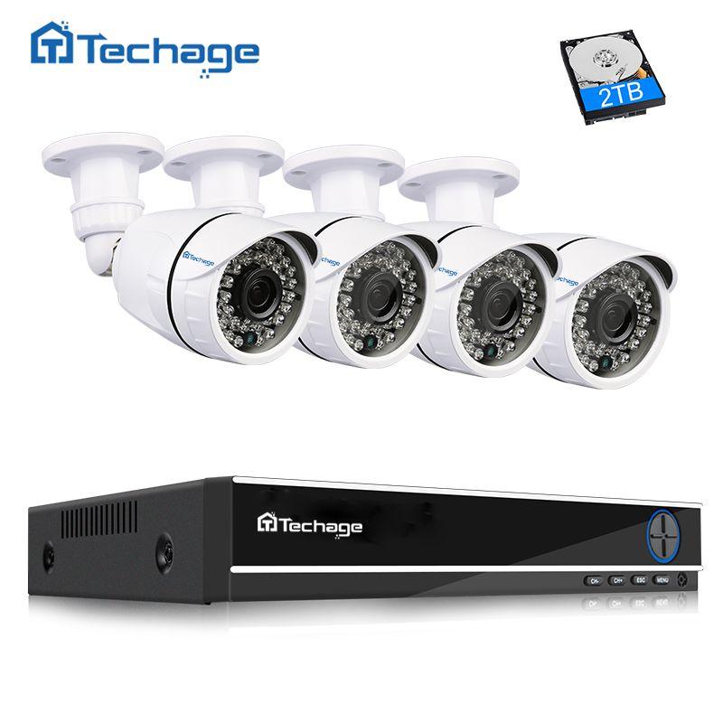 Techage 4CH 1080P HDMI DVR Security Camera CCTV System Outdoor Waterproof 1080P 2MP Camera P2P Video Surveillance Kit 1TB HDD