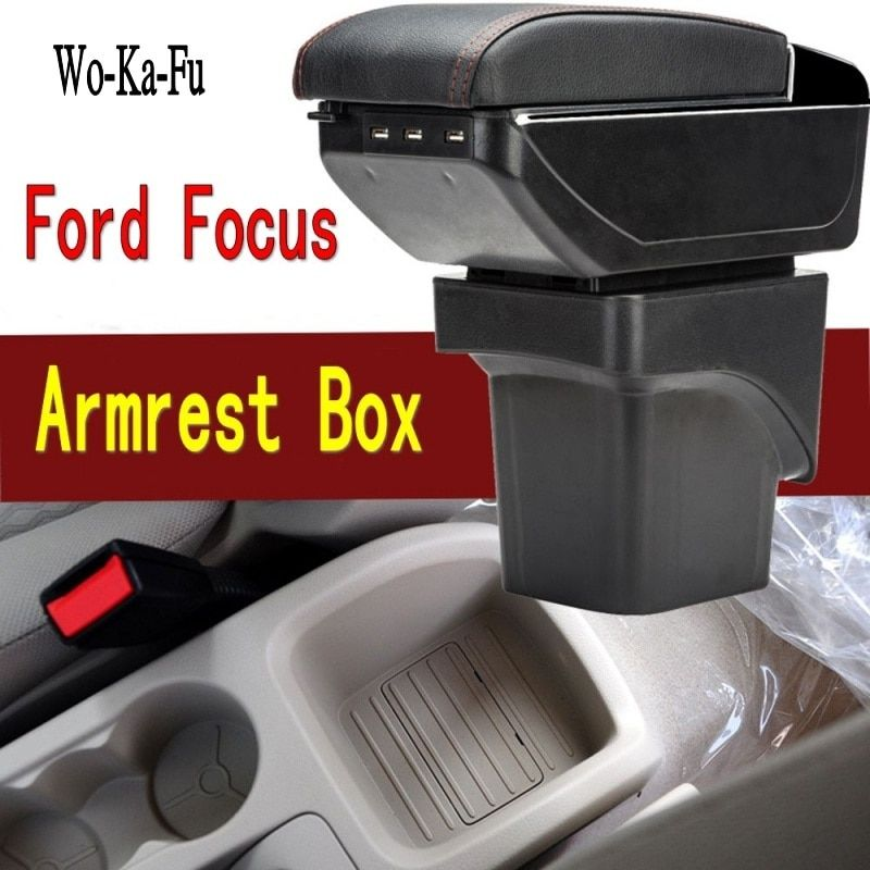 For Ford Focus 2 armrest box central Store content Storage box Ford focus armrest box with cup holder ashtray USB interface