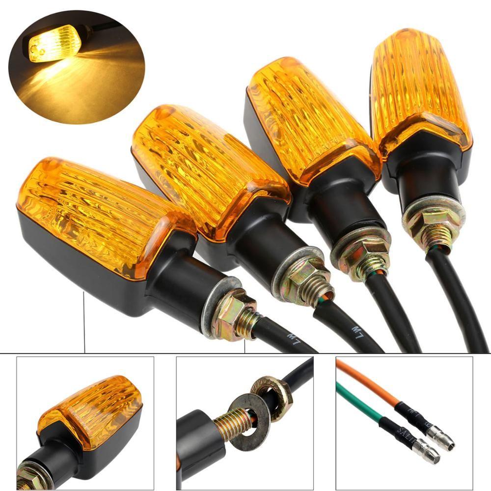 4 pièces/ensemble 12 V universel moto clignotant indicateur lumière tournant ambre lampe ampoule moto lampes clignotant lampe vélo