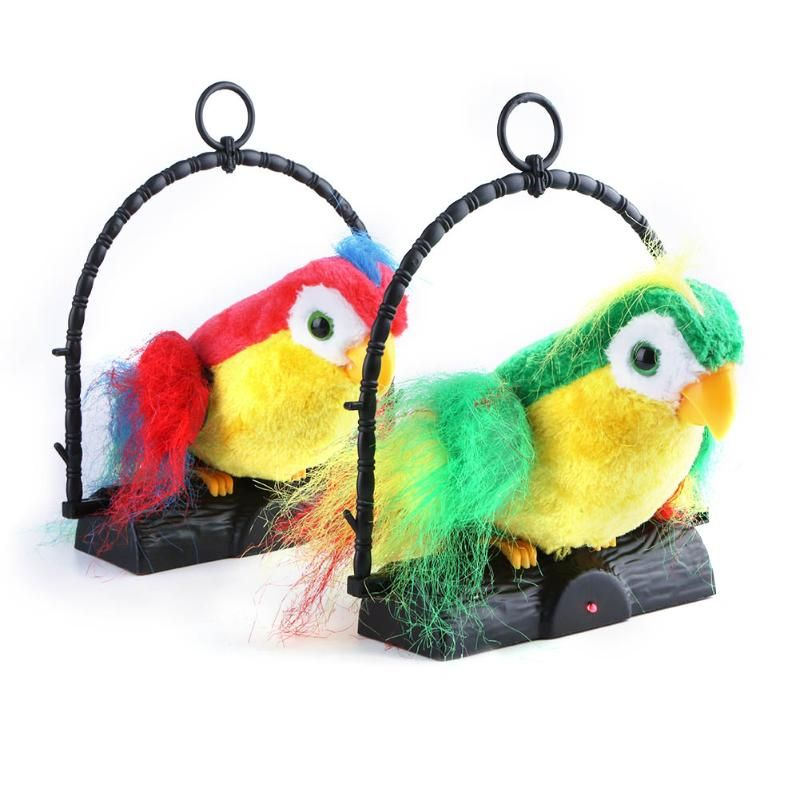 Kids Electric Pets Recording Talking Birds Sound Whistle Induction Electric Parrot Kids Short Plush Interactive Toy Random Color