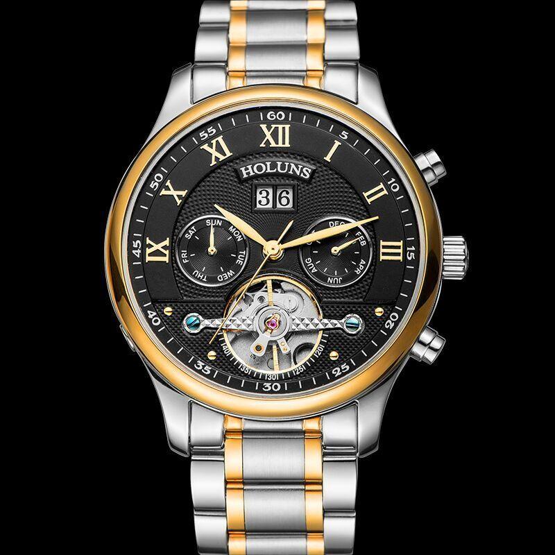 Hot Drop Shipping Skeleton Tourbillon Mechanical Watch Men Automatic Rose Gold full Steel Mechanical Wrist Watches Reloj Hombre