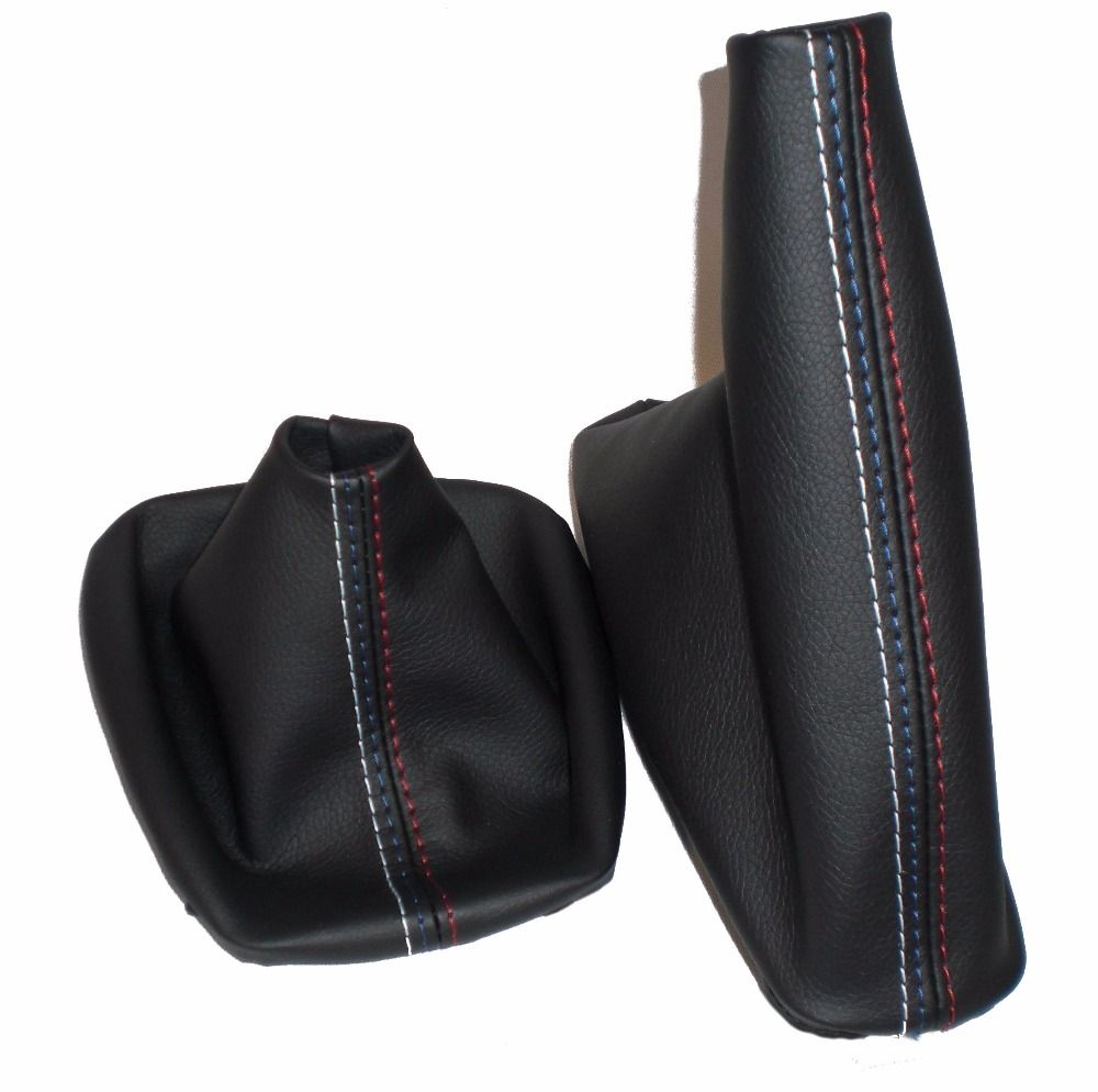Free Shipping Car Shift Gear Stick Manual Handbrake Gaiter Shift Boot Black Leather Boot For BMW 3 Series E36 E46 M3 Car Styling