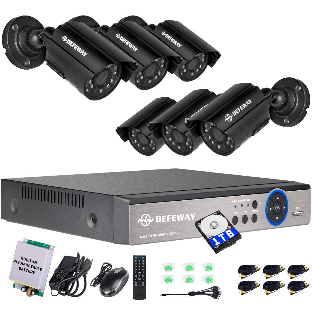 DEFEWAY 1080N 8 Kanal System Videoüberwachung 1 TB HDD DVR KIT 6 STÜCKE Outdoor IR Nachtsicht 1,0 MP mit Notfall batterie