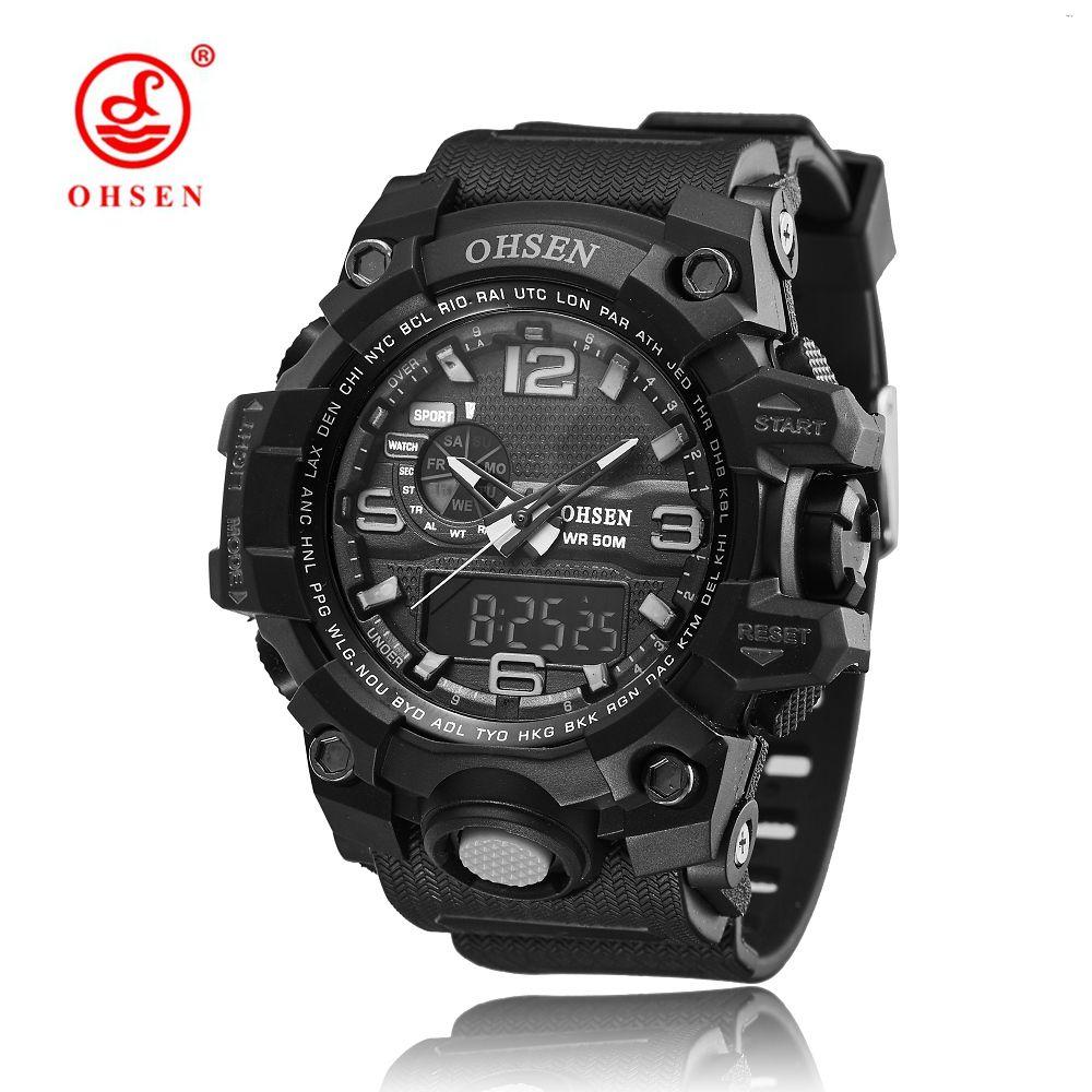 OHSEN Marque Heures Numérique Montre relojes para hombre Hommes Horloge de Quartz Relogio Masculino Militaire Sport Hommes Casual Montres