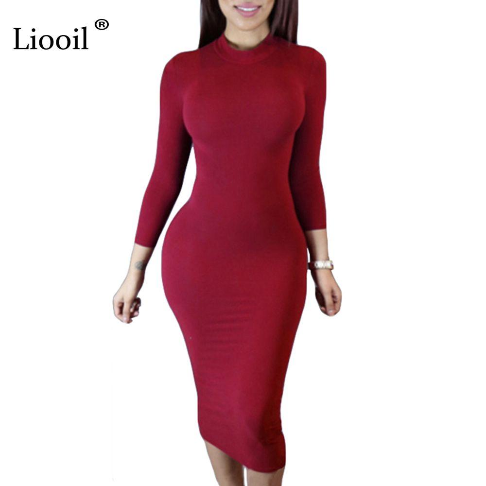 Liooil 2019 printemps robe col roulé à manches longues noir vin rouge Midi moulante robes mode hiver grande taille vêtements pour femmes