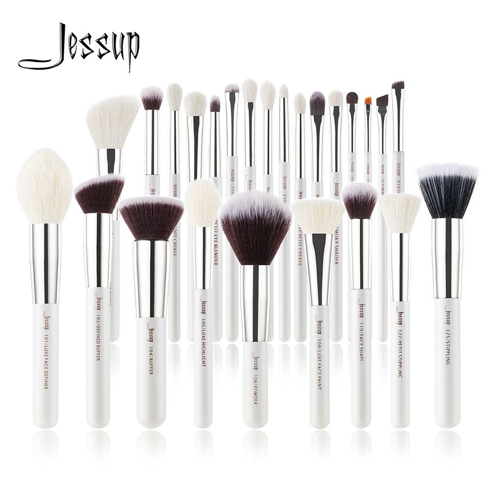 Jessup perle blanc/argent pinceaux de maquillage set beauté fond de teint poudre fard à paupières pinceaux de maquillage haute qualité 6 pièces-25 pièces