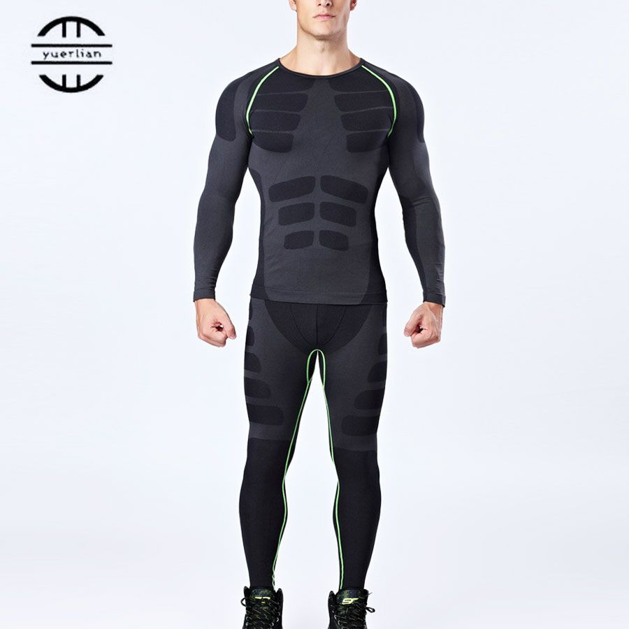 Brand New Compression Sports Suit Men Gym Shirt Fitness Legging Male Gym T-Shirt Basketball Fitness Tights Black Running Sets