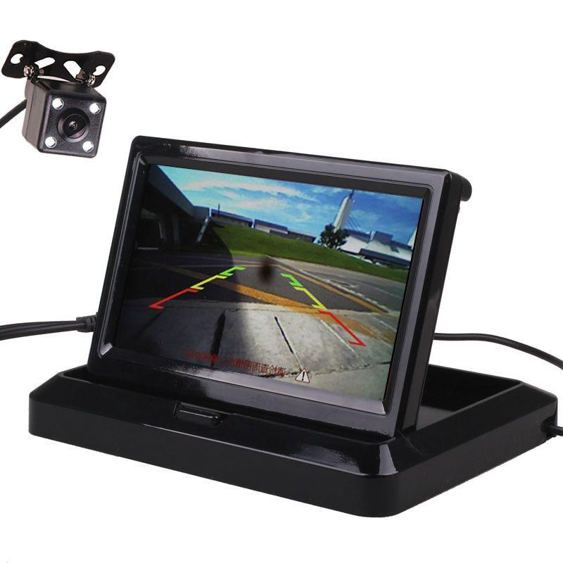 4.3/5 Pouces HD Flip Pliable TFT LED voiture Véhicule Vue Arrière Parking Moniteur à Écran Caméra de Recul Kit Combo