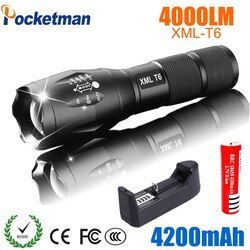 Светодиодный Перезаряжаемые фонарик Pocketman XML T6 linterna фонарик факел 4000 люмен 18650 Батарея Открытый Кемпинг мощный светодиодный фонарик