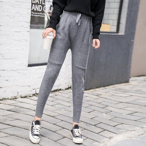 Real Shooting, New Autumn Pants, Women's Trousers, Korean Version, Wild Style, Loose Feet, Knitted Sports, Haren Pants, Female R