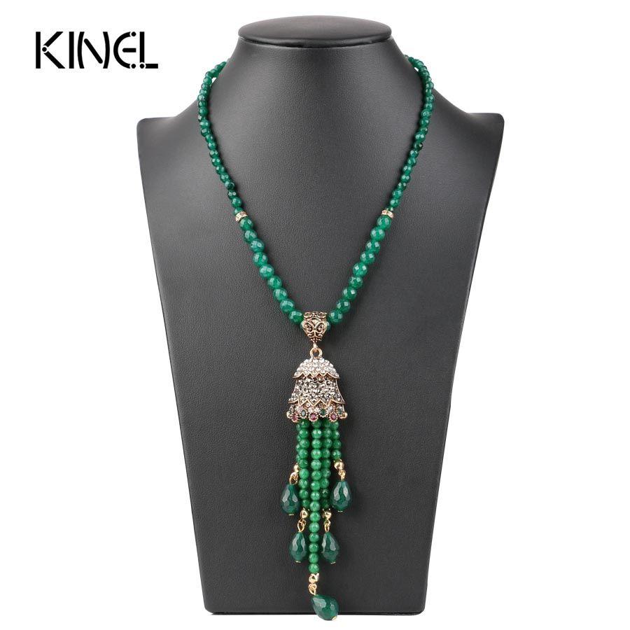 Lujo de La Vendimia Larga Borla Collar Colgante Para Las Mujeres de Color Oro Antiguo Turco Verde Suéter de Cristal Indio Bijoux