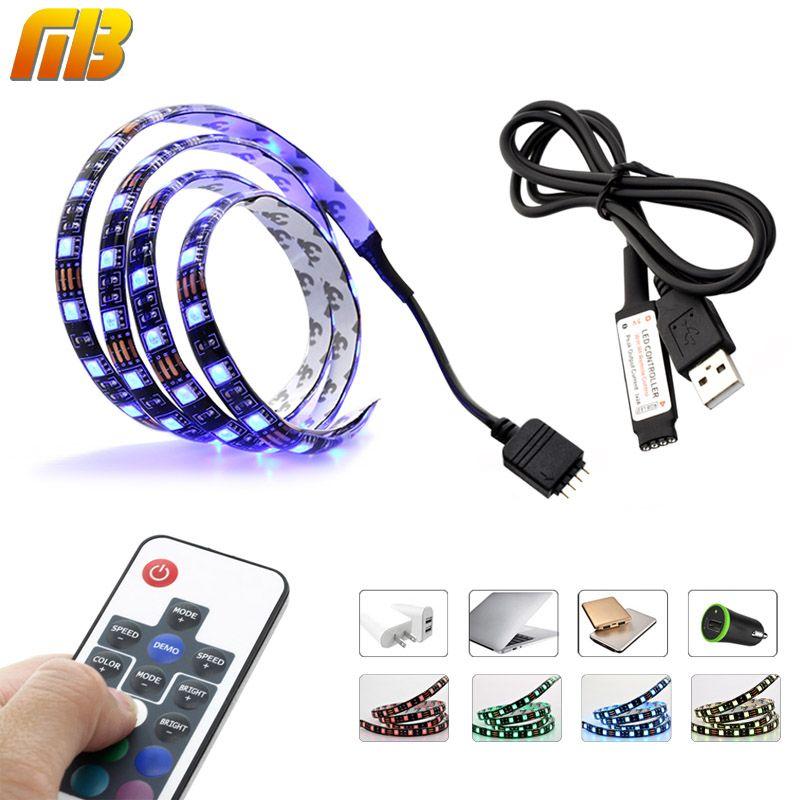 LED Streifen-beleuchtung DC 5 V USB SMD 5050 RGB TV/PC hintergrund 60 LEDs/m mit 17Key RF Controller 50 cm/1 mt/2 mt Set Led-streifen verfärben