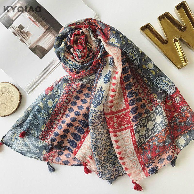 KYQIAO Bohemio bufanda 2017 otoño invierno las mujeres Tailandia estilo boho étnico larga de impresión regalos de cumpleaños de la bufanda del mantón del cabo