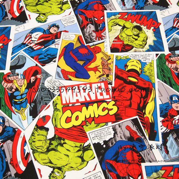 Bon 140cm large bande dessinée tissu 100% coton tissu Patchwork coton, bande dessinée. Les Avengers imprimer tissu couture mode T-shirt vêtements